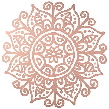 Rose Gold Floral Mandala by julieerindesign
