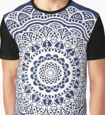 Deep Ocean Blue Mandala - LaurensColour  Graphic T-Shirt