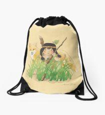 Catori Stalks Like a Fox Drawstring Bag