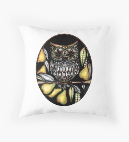 ...and an owl in a pear tree Throw Pillow