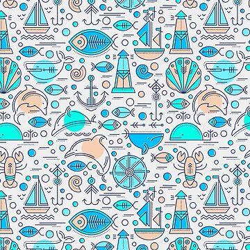 Blue sea busy pattern by ShowMeMars