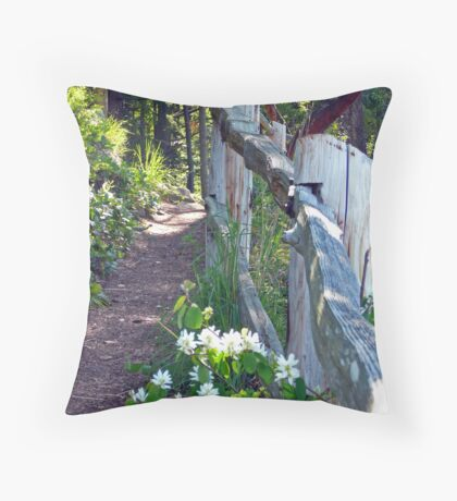 Down The Wooded Path Throw Pillow