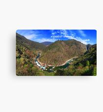 River going down the mountain (landscape with logo) Canvas Print