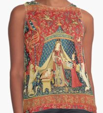 Blusa sin mangas LADY AND UNICORN DESIRE, Lion, Fantasy Flowers, Animales Red Green Floral
