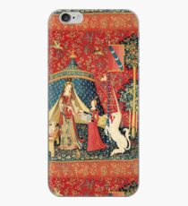 Vinilo o funda para iPhone LADY AND UNICORN DESIRE, Lion, Fantasy Flowers, Animales Red Green Floral
