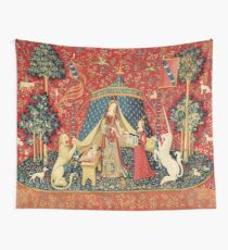 LADY AND UNICORN DESIRE ,Lion,Fantasy Flowers,Animals Red Green Floral Wall Tapestry