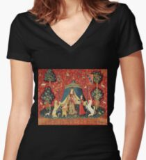 DAMEN- UND EINHORNENWUNSCH, Löwe, Fantasie-Blumen, Tiere rotes grünes Blumen Tailliertes T-Shirt mit V-Ausschnitt