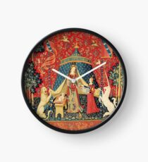 LADY AND UNICORN DESIRE ,Lion,Fantasy Flowers,Animals Red Green Floral Clock