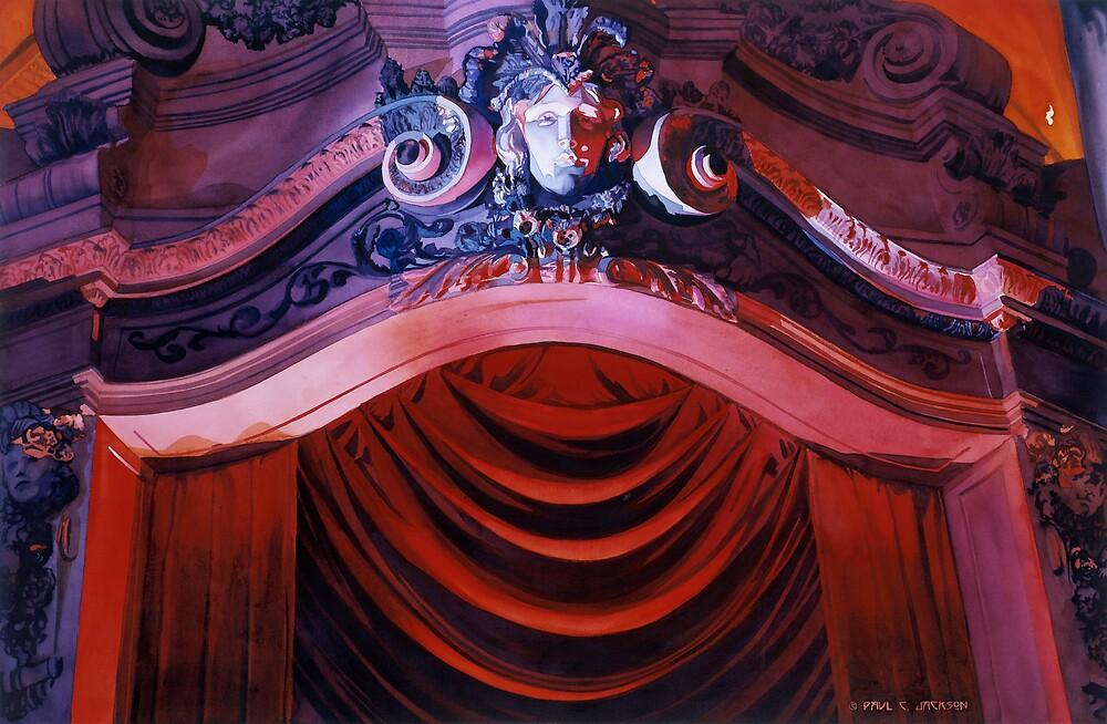 """""""Entrevous"""" Missouri Theatre Watercolor by Paul Jackson"""