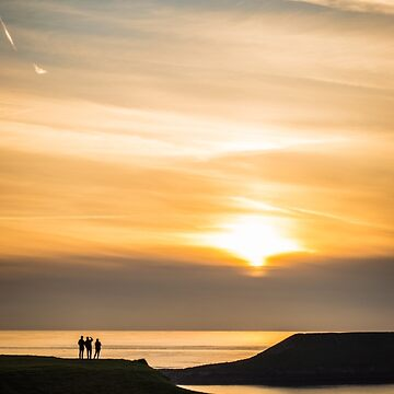 Three silhouettes in sunset landscape by creaschon