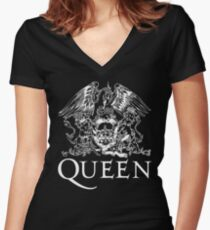 Queen Band Royal Crest Logo Women's Fitted V-Neck T-Shirt