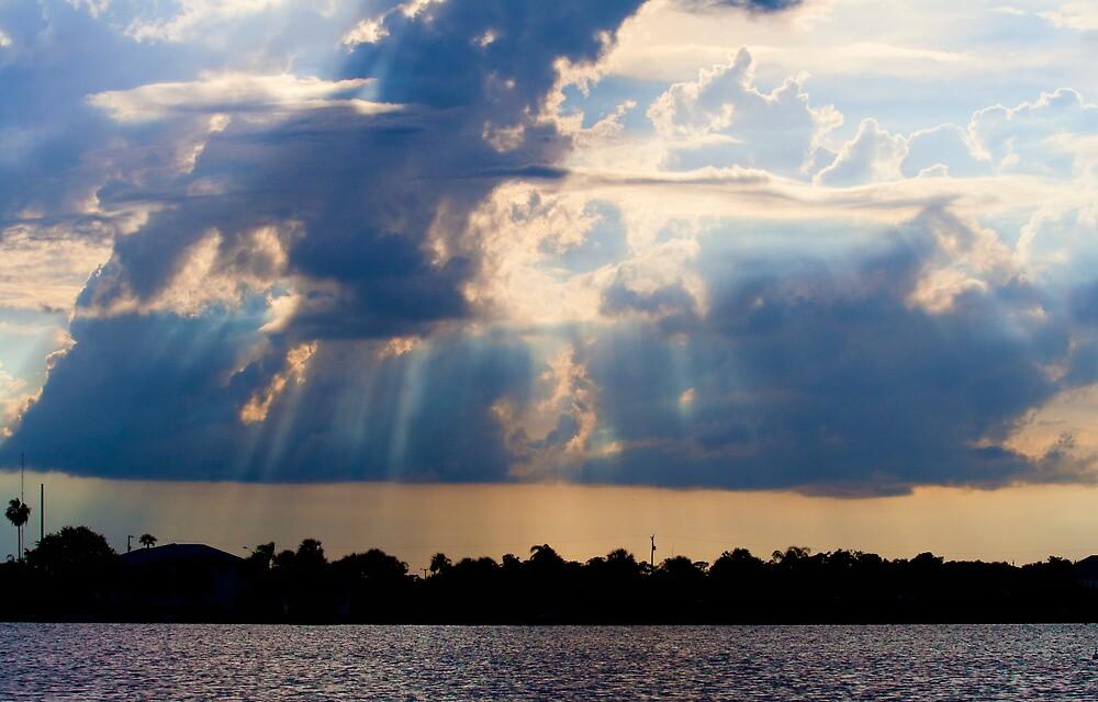 River Storm Sunset by Karen  Moore