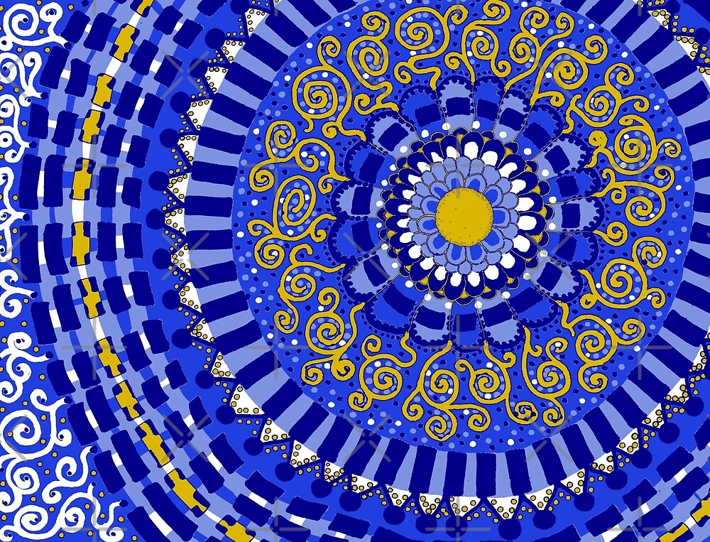 Blue and Yellow Mandala by Clare Wuellner