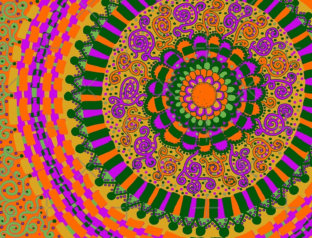Neon Orange, Yellow, and Green Mandala by Clare Wuellner