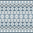Aztec Essence IIIb Pattern Gray-Blues & White by NataliePaskell