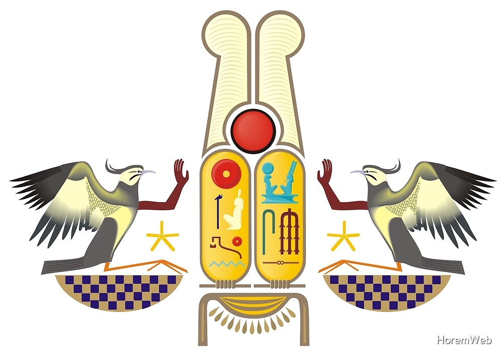 Ramesses the Great's Cartouches with adoring Rekhyt Birds by HoremWeb