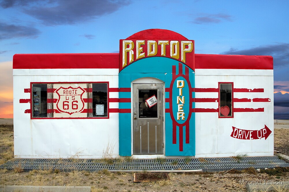 Red Top Diner on Route 66, Edgewood, New Mexico by Mitchell Tillison
