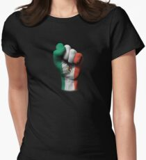 Flag of Mexico on a Raised Clenched Fist  Women's Fitted T-Shirt