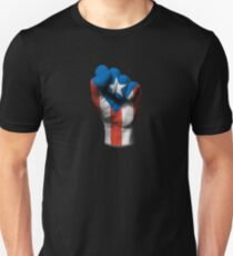Flag of Puerto Rico on a Raised Clenched Fist  Unisex T-Shirt
