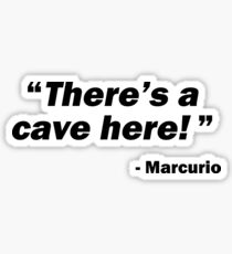 """""""There's a cave here!"""" - Marcurio (Skyrim Inspired) Sticker"""