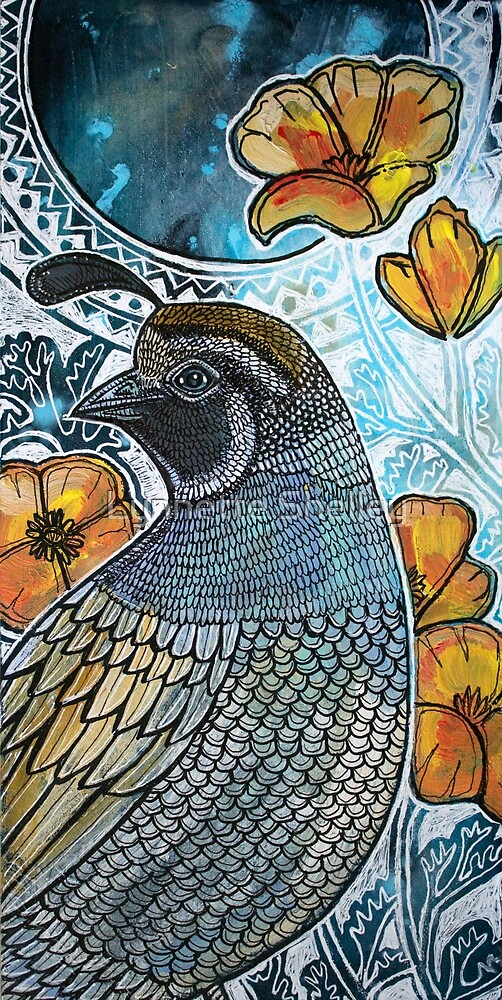 California Quail and Poppies by Lynnette Shelley