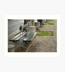 Lonely Parisian bench Art Print