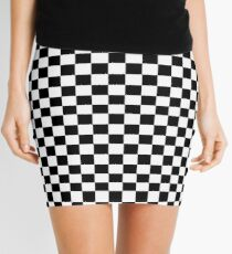 Black White Checker Design Bedspread - Mini Chess Sticker Mini Skirt