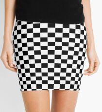 Black White Checker Design Bedspread - Mini Chess Sticker Mini Skirt