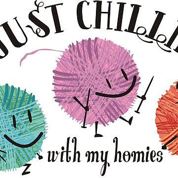 Retro yarn knitting needles chillin with homies by BigMRanch
