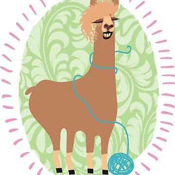Funny llama ball of yarn knitting crochet by BigMRanch