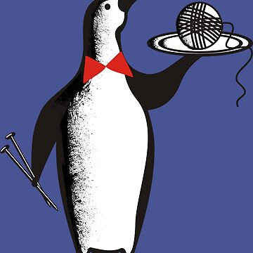 Penguin waiter ball of yarn knitting needles by BigMRanch