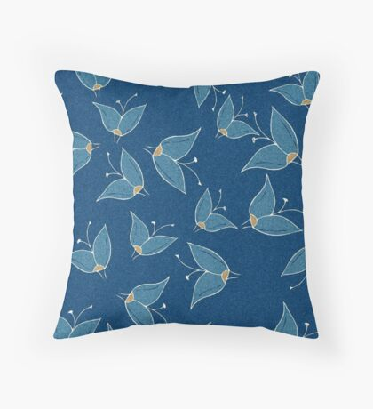 Grainy Blue Butterfly Flowers Throw Pillow