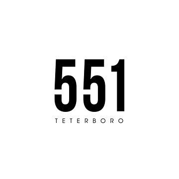Teterboro, NJ - 551 Area Code design by CartoCreative