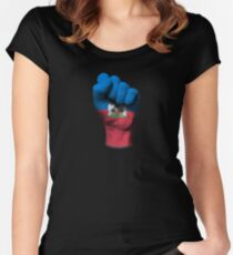 Flag of Haiti on a Raised Clenched Fist  Women's Fitted Scoop T-Shirt