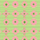 Floral pattern green grass stripes with pink flowers symmetric by M-Lorentsson