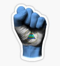 Flag of Nicaragua on a Raised Clenched Fist  Sticker