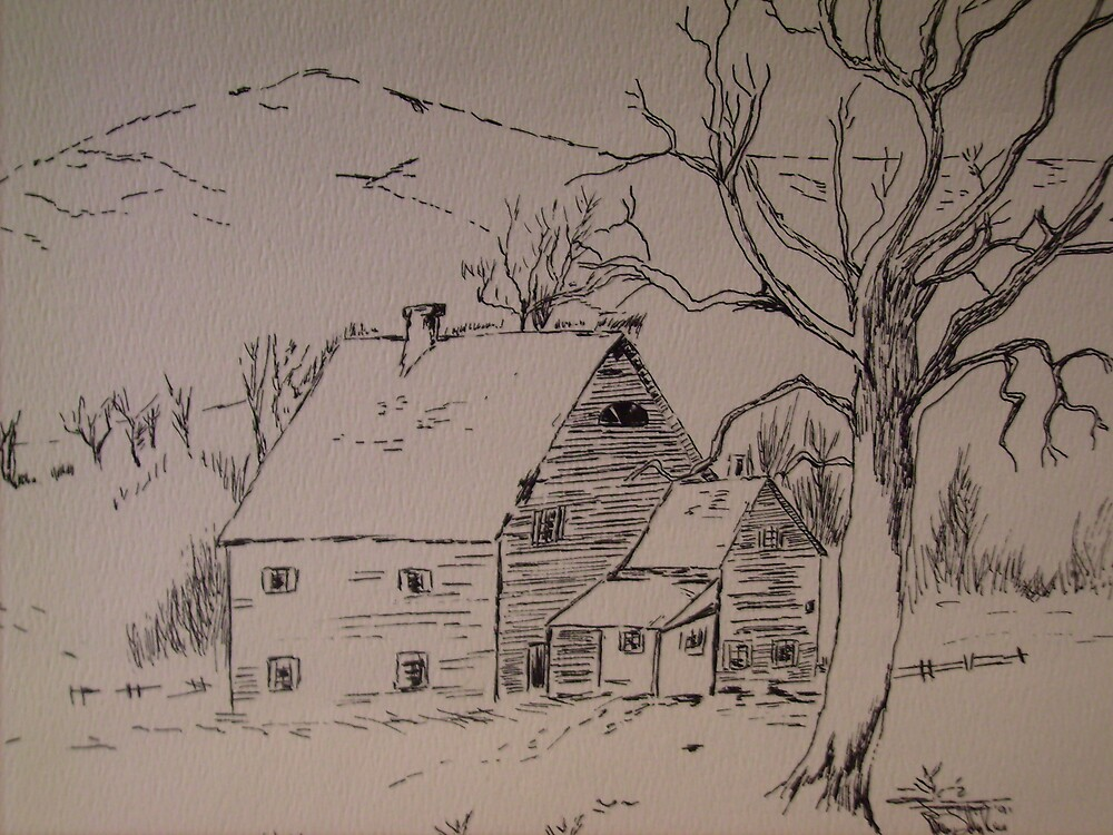 old house in the snow by karen salley-rice