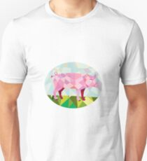 Tamworth Pig Side Oval Low Polygon Unisex T-Shirt