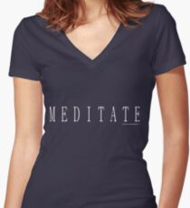 Meditate T Shirt, White Design 2 Women's Fitted V-Neck T-Shirt