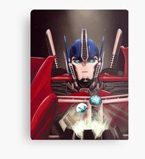 Optimus Prime w/ Earth and Cybertron Metal Print