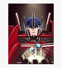 Optimus Prime w/ Earth and Cybertron Photographic Print