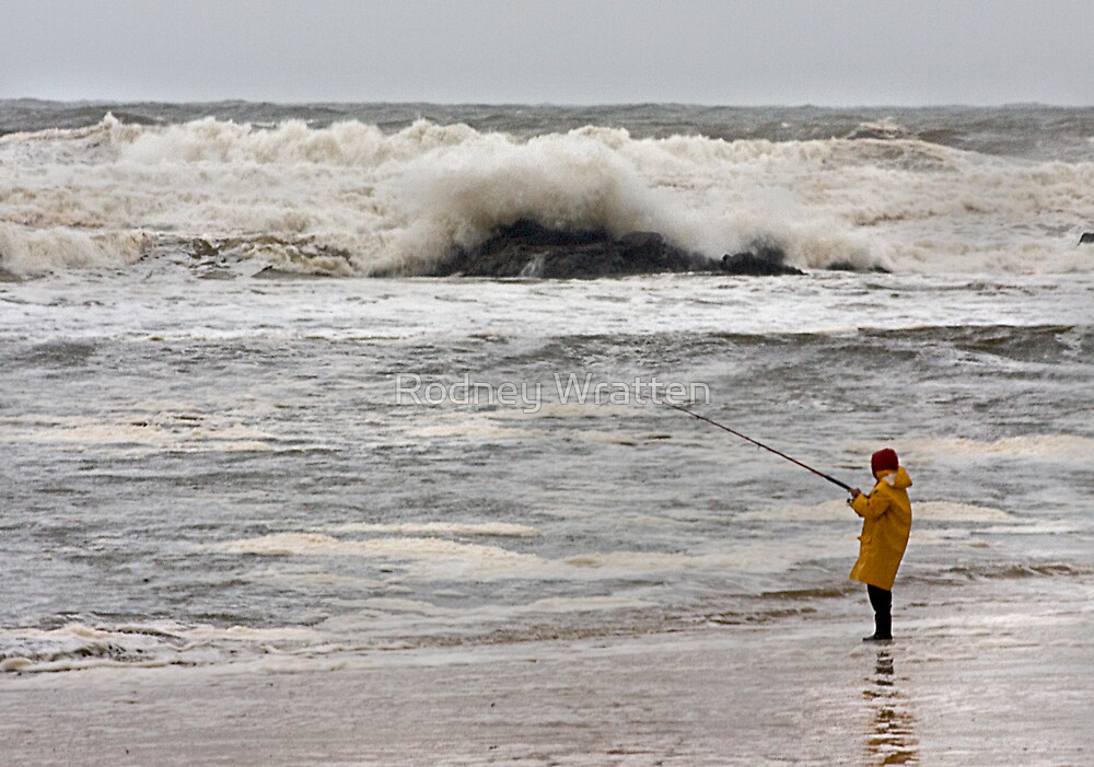 waves and fishing by Rodney Wratten