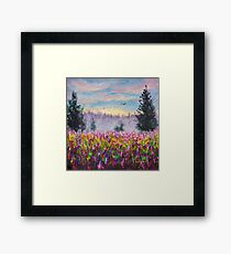 Flower glade field of purple flowers landscape - original oil painting for sale.  Framed Print