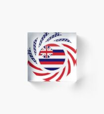 Hawaiian Murican Patriot Flag Series Acrylic Block