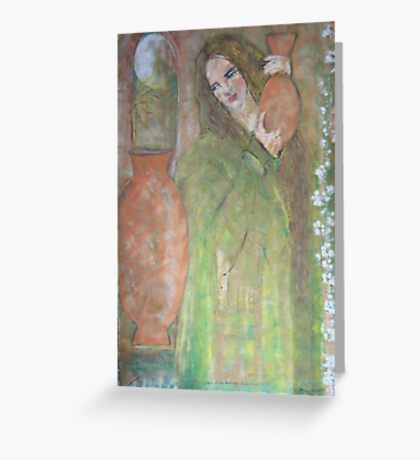 woman with a water jar   Greeting Card