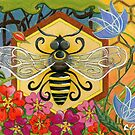 Mid Century Modern Bee on Honeycomb with Flowers by chromaddict
