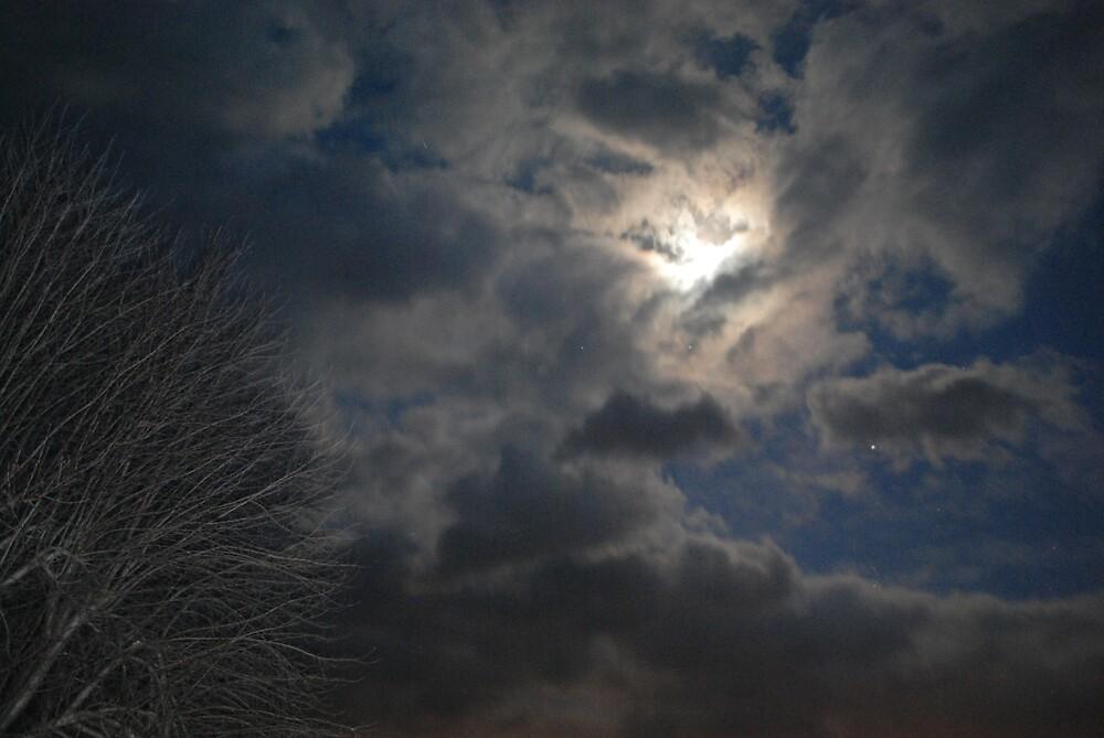 Moon Behind Clouds by BernieG