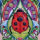 Art Nouveau Ladybug on a Leaf in Flowers by chromaddict