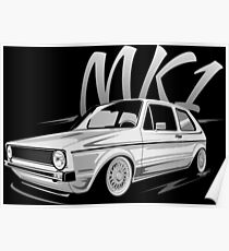 Golf 1 MK1 GTI & quot; Low Style & quot; Poster