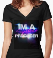 Synth wave producer Women's Fitted V-Neck T-Shirt